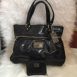 Coach Poppy black liquid gloss bag and wallet set